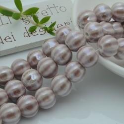 perle in ceramica luminosa forma zucca col beige lilla 12 mm per gioielli le tue creazioni