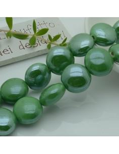 perle in ceramica luminosa forma rotondo mezzo bombato col verde 18 mm per gioielli le tue creazioni