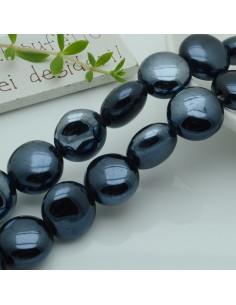 perle in ceramica luminosa forma rotondo mezzo bombato col nero rodio 18 mm per gioielli le tue creazioni