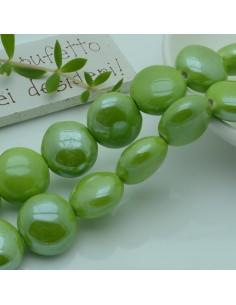 perle in ceramica luminosa forma rotondo mezzo bombato col verde limone 18 mm per gioielli le tue creazioni