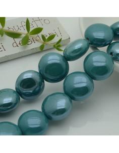 perle in ceramica luminosa forma rotondo mezzo bombato col verde acqua 18 mm per gioielli le tue creazioni