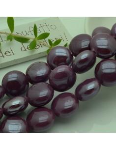perle in ceramica luminosa forma rotondo mezzo bombato col viola melanzana 18 mm per gioielli le tue creazioni