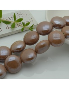 perle in ceramica luminosa forma rotondo mezzo bombato col beige 18 mm per gioielli le tue creazioni