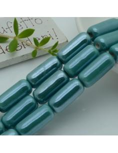 perle in ceramica luminosa forma CILINDRO 9 x 20 mm col verde acqua per gioielli le tue creazioni