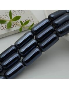 perle in ceramica luminosa forma CILINDRO 9 x 20 mm col nero rodio per gioielli le tue creazioni
