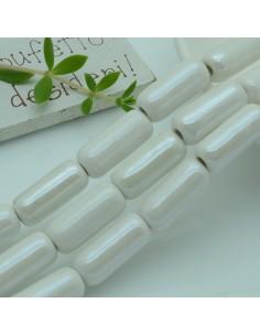 perle in ceramica luminosa forma CILINDRO 9 x 20 mm col bianco per gioielli le tue creazioni