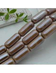perle in ceramica luminosa forma CILINDRO 9 x 20 mm col beige per gioielli le tue creazioni