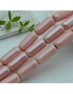 perle in ceramica luminosa forma CILINDRO 9 x 20 mm col rosa per gioielli le tue creazioni