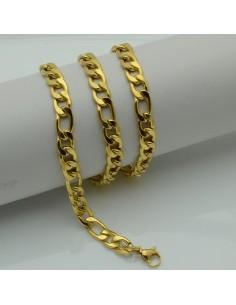 collana CATENA GOURMETTE PLACCATO IN ORO 55 cm larghezza 7.5 mm in acciaio ottima qualità per le tue creazioni