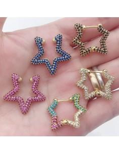 Orecchino ear cuff Da Donna forma stella orecchini oro con zirconi 1 pz