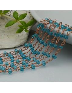 catena rosario base oro rosa concatenata cristalli col azzurro trasparente 3 mm in ottone 50 cm per le tuo creazione