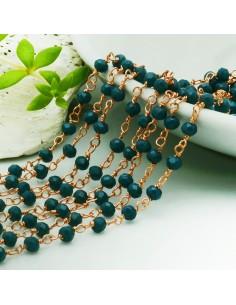 catena rosario base oro rosa concatenata cristalli col Colore petrolio 3 mm in ottone 50 cm per le tuo creazione