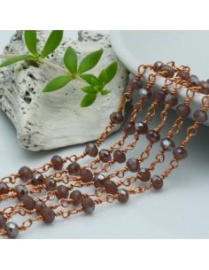 catena rosario base oro rosa concatenata cristalli col Colore lilla scuro 4 mm in ottone 50 cm per le tuo creazione