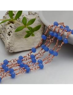 catena rosario base oro rosa concatenata cristalli col Colore azzurro 4 mm in ottone 50 cm per le tuo creazione