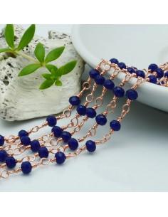 catena rosario base oro rosa concatenata cristalli col Colore blu 4 mm in ottone 50 cm per le tuo creazione