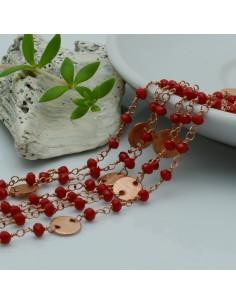 catena rosario base oro rosa concatenata cristalli rosso 3 mm intercalate da connettore in ottone 50 cm per le tuo creazione
