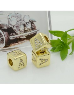 cubetti strass oro 7.5 mm foro 3.5 mm alfabeto singolo lettera perline lettera iniziale 1 pz  per fai da te