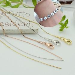 base Bracciale in argento 925 catena corba filo 0.6 mm 18 cm con ago chiodini 5 cm e chiusura per tue le gioielli