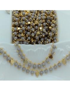 Catena Rosario con cristalli 4 mm grigio chiaro cuore base oro chiaro in Ottone 50 cm per bigiotteria