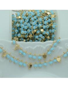Catena Rosario con cristalli 4 mm azzurro cuore base oro chiaro in Ottone 50 cm per bigiotteria