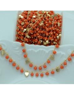 Catena Rosario con cristalli 4 mm arancione cuore base oro chiaro in Ottone 50 cm per bigiotteria