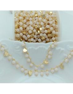 Catena Rosario con cristalli 4 mm panna cuore base oro chiaro in Ottone 50 cm per bigiotteria