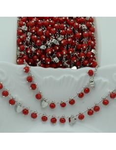Catena Rosario con cristalli 4 mm rosso scuro cuore base argento in Ottone 50 cm per bigiotteria
