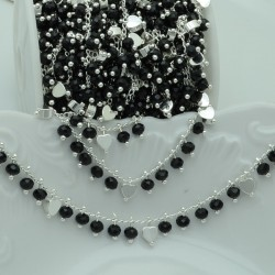 Catena Rosario con cristalli 4 mm nero cuore base argento in Ottone 50 cm per bigiotteria