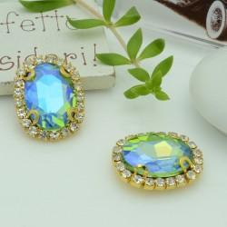 pietre incastonate in vetro torno strass  18 x 22 mm colore azzurro AB con 2 foro passante 1 pz base oro  per fai da te