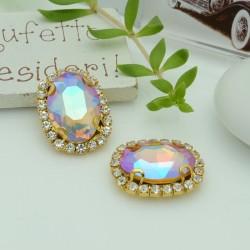 pietre incastonate in vetro torno strass  18 x 22 mm colore rosa chiaro AB con 2 foro passante 1 pz base oro  per fai da te