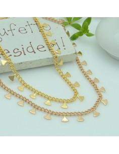 Catena in acciaio groumetta oro con ciondoli triangolo saldato altezza 5 mm confezione 50 cm