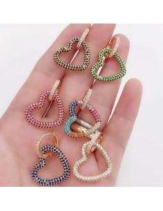 orecchini da donna cerchio 16 mm con zirconi bianco ciondoli CUORE 20 mm