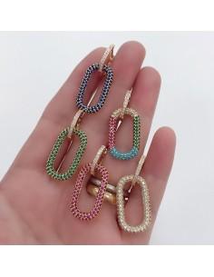 orecchini da donna cerchio 16 mm con zirconi bianco ciondoli Rettangolo 14 X 25 mm