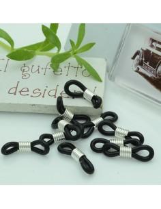 Gommini Terminali connettori per catenelle occhiali 5 x 20 mm argento silicone nero per le tue creazione