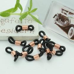 Gommini Terminali connettori per catenelle occhiali 5 x 20 mm oro rosa silicone nero per le tue creazione
