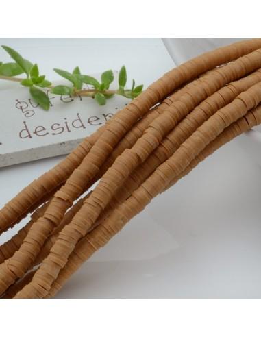 Pasta Polimerica fili Rondelle col beige 1 x 4 mm 39/40 cm Polimero Perline Heishi per le tue creazione