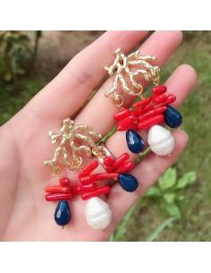 orecchini forma ramo con f perle di corallo bambù e madreperla