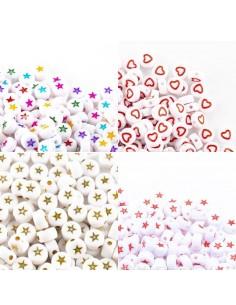 12 PZ PERLINE PERLE stelle e cuore IN PLASTICA BIANCO 7mm PER BIGIOTTERIA per le tue creazioni