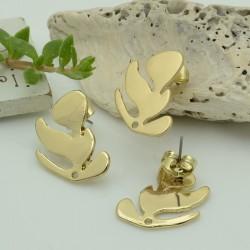 Orecchini a Perni forma foglie 15 x 21 mm in zama per orecchini alla moda