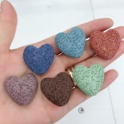 2 pz pietre Di lava forma cuore 20 mm per orecchini bracciali collana gioielli per le tue creazioni