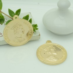 ciondolo medaglia forma di moneta 25 x 28 mm in rame 1pz per gioielli fai da te
