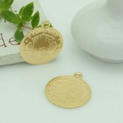 ciondolo medaglia forma di moneta 19 x 23 mm in rame 1pz per gioielli fai da te