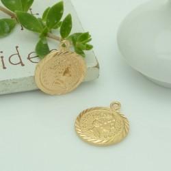 ciondolo medaglia forma di moneta 14 x 17 mm in rame 1pz per gioielli fai da te