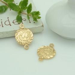 ciondolo CONNETTORI forma di moneta 11 x 17 mm in rame 1pz per gioielli fai da te