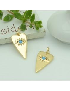 Ciondolo a forma cuore oro chiaro con occhio zirconi turchese 12 x 23 mm in ottone per le tue creazioni