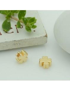 distanziatore perline forma quadrifoglio piatta 5.4 mm col oro 18k 2pz per bracciale fai da te