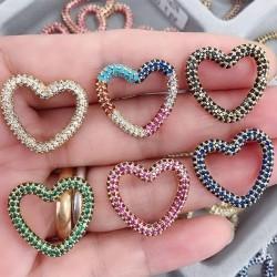 ciondoli forma cuore con zirconi 22 mm varia colore per le tue creazione