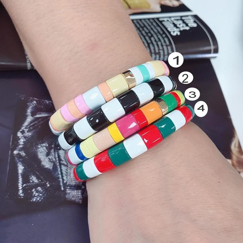 braccialetto multicolore smalto Bracciale arcobaleno Larghezza 8 mm da donna elastico in metallo