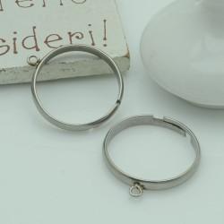 base anelli porta ciondoli con anello 3 mm saldato da decorare fascia 3 mm in acciaio 1pz