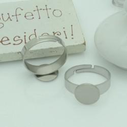 Base anelli regolabili con piatto 10 mm misura in acciaio per i tuoi anelli alla moda
